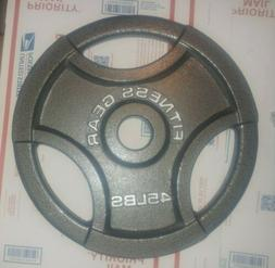 """45 lb Fitness Gear Olympic Cast Iron Weight Plate 2"""" NEW"""