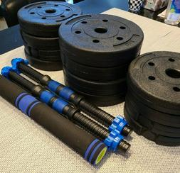 1 DAY FREE SHIP 44LB Adjustable Dumbbell Weight Set Barbell