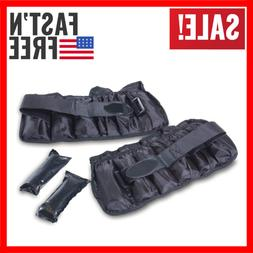10 lb Adjustable Ankle Weights Pair Fitness Exercise Strengt
