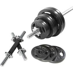 110 LB Barbell Weight Set - with Dumbbell Handles - Standard