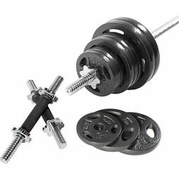 110LB Barbell Weight Set with Dumbbell Handles Standard Size
