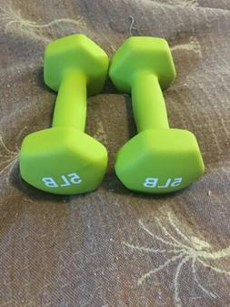 2-Lime Green 5 Lb Neoprene Weights New