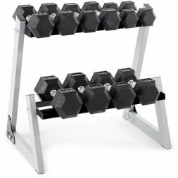Dumbbell Weight Set With Rack 200 LBS Gym Exercise Solid Bar
