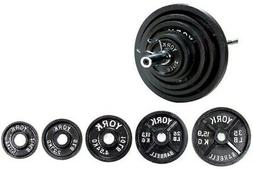 York Barbell 210 lb Olympic Weight Set With Bar and Collars