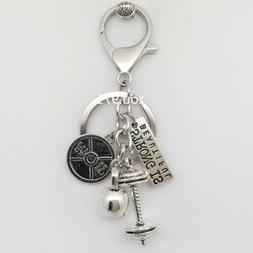 25LBS BARBELL WEIGHT Charm Chain Keychain *Fitness Weightlif