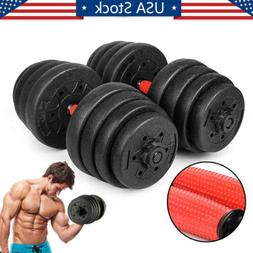 66LB Weight Dumbbell Set Adjustable Cap Gym Barbell Plates B