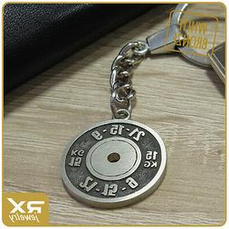 Crossfit Motivation Gift Keychain Weight Plate Key Ring Barb