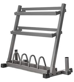 XMark Dumbbell Rack Olympic Plate Weight Rack with Olympic B