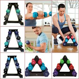 Dumbbell Set With Rack Neoprene Coated Workout Fitness Gym W
