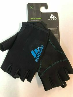 Adidas Essential Fitness Gloves, 1/2 Fingers, Black/ Blue, S