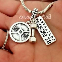 Fitness Gym Cross fit Barbell Charm Bracelet necklace Jewelr
