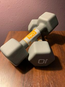 CAP Hex Neoprene 10 LB Pound Pair of Dumbbell Weights  New