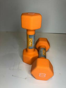 CAP Hex Neoprene 8 LB Pound Pair Dumbbell Hand Weights - NEW