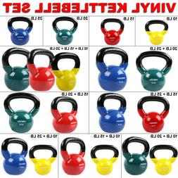 Home Gym Vinyl Kettlebell Kit Body Muscles Training Weights