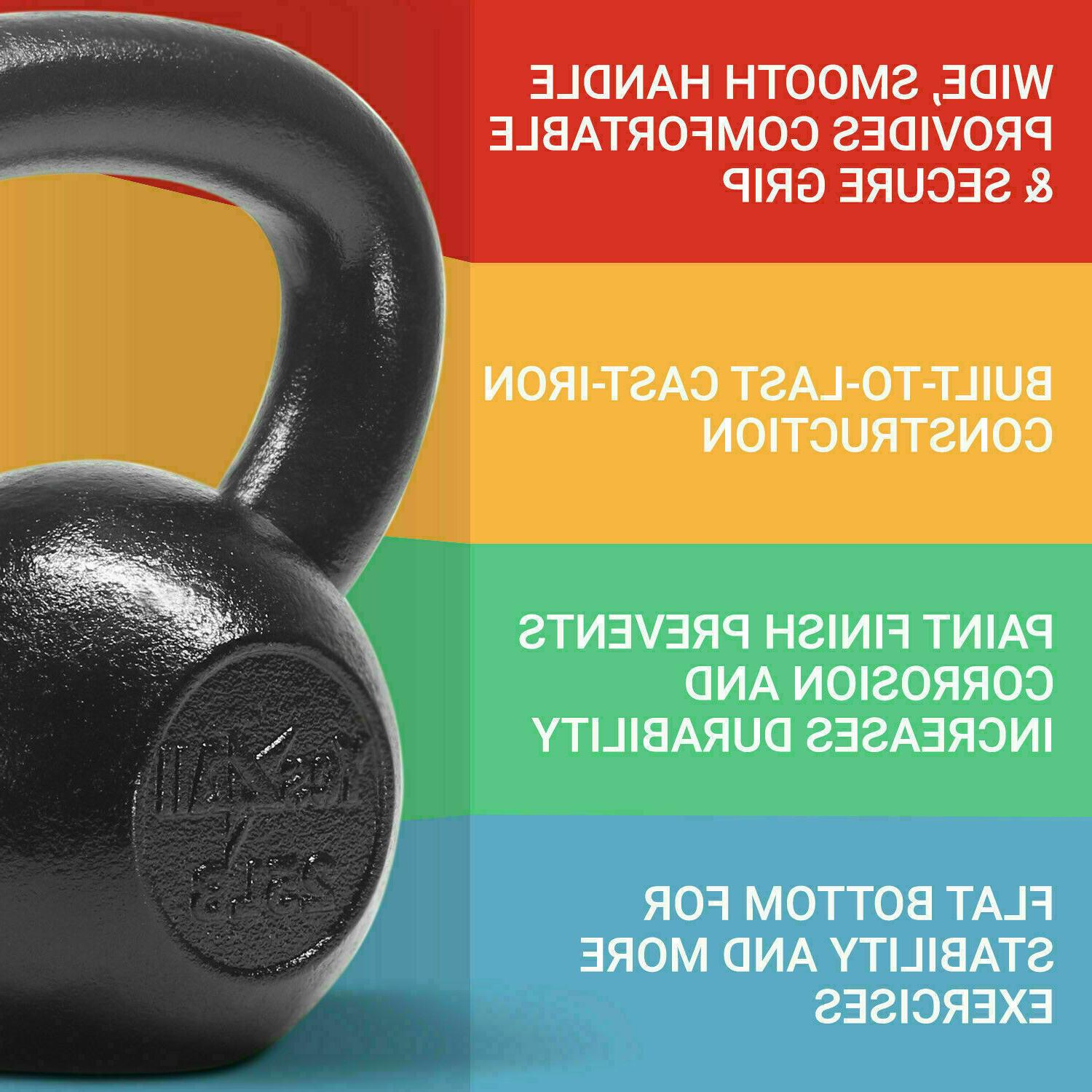 Yes4All Cast Iron Kettlebells Weight 5 to 50 Lbs Lifting Tra