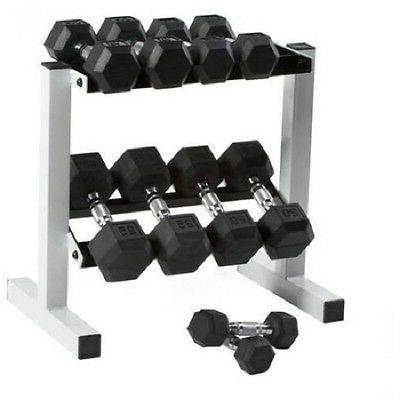 Dumbbell Weight Set With Rack Barbell 150 lbs Hex Exercise G