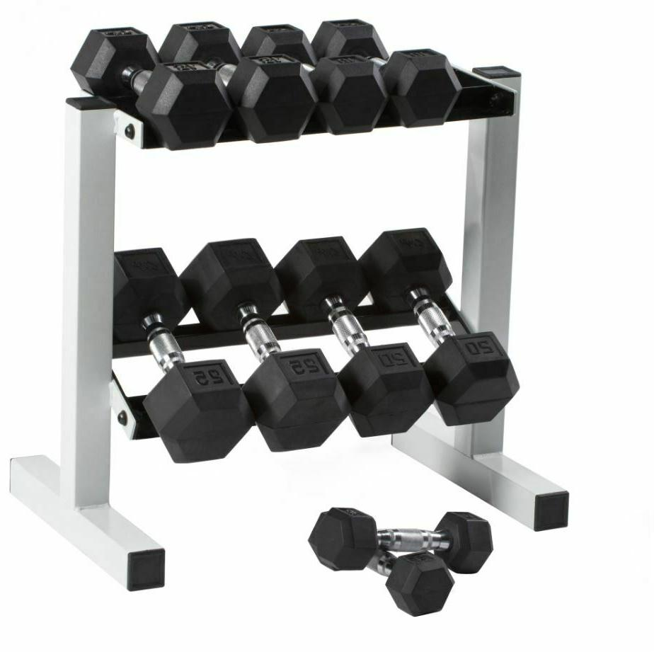 Free Weights Dumbbells Set With Rack Hex 150lb Men Fitness H