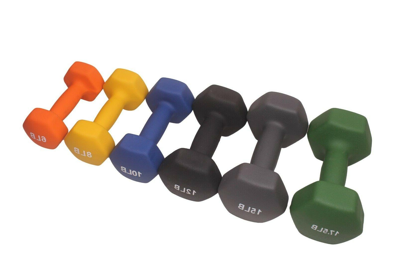POWERT HEX Coated Colorful Dumbbell Training--One Pair