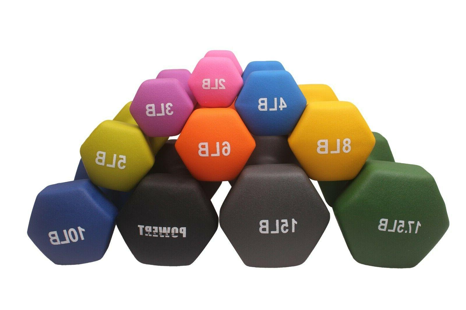 hex neoprene colorful dumbbell set weight lifting