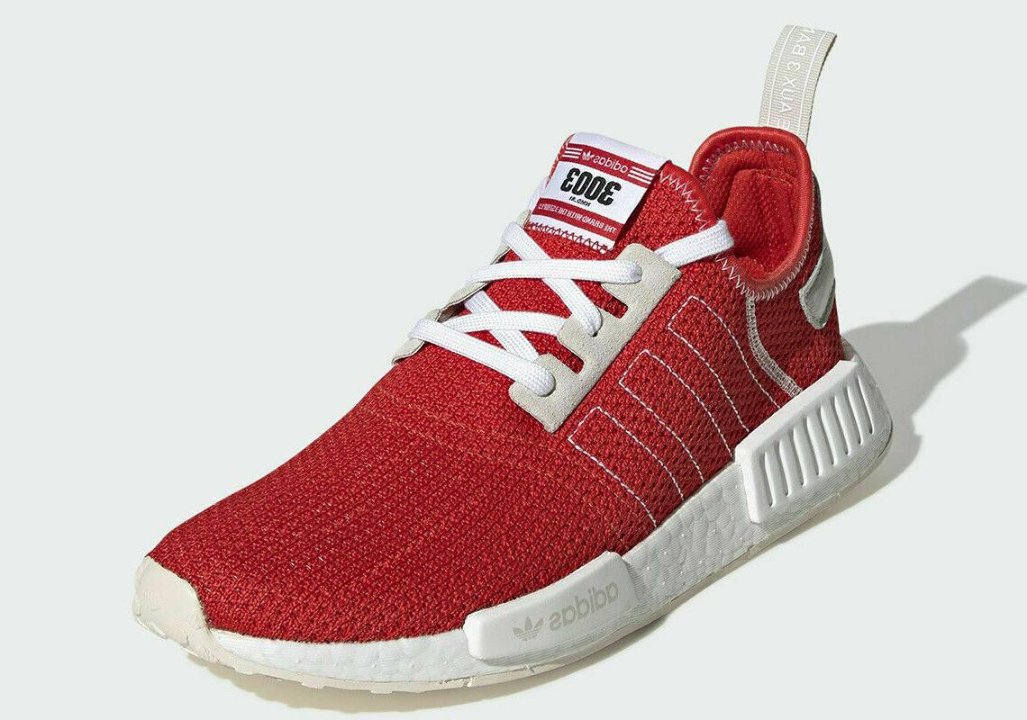 Men's Sz Adidas NMD Red White Light Weight Sneakers BD7897