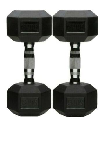 rubber encased hex hand dumbbell weight 25