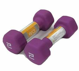 LOT of 2 Hex Neoprene 5 Pound Pair of Dumbbells Weights - 10