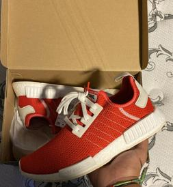 Men's Sz 10 Adidas NMD R_1 Red White Light Weight Fashion Ca