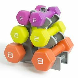 Tone Fitness Neoprene Dumbbell Set with Rack, 32-Pounds of W