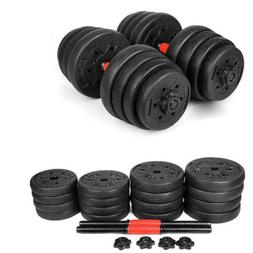 New Weight Dumbbell Set 64 LB Adjustable Cap Gym Barbell Pla