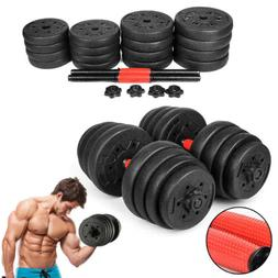 New Weight Dumbbell Set 66 LB Adjustable Cap Gym Barbell Pla
