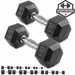 Pair of Rubber Coated Hex Dumbbell Hand Weight Set, 5 lb to