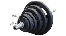 Rubber Grip 300 lb. Olympic Weight Set with Bar and Collars