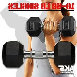 Rubber Hex Dumbbell Singles Free Weights Home Gym Training B