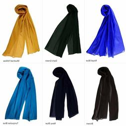 Scarf Semi Chiffon Head Neck Wrap Sheer Plain Light weight F