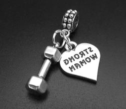 Strong Woman Barbell Charm for Brand Bracelets Fitness Worko