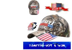 Trump 2020 Embroidered Hat American Flag Real Tree Camo Ligh