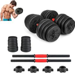Weight Dumbbell Set 66 LB Adjustable Cap Gym Barbell Plates