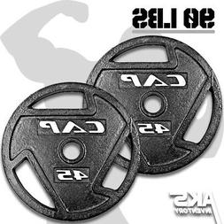 """Weight Plates 45lb Pair 2"""" Olympic Grip Home Gym Fitness Exe"""